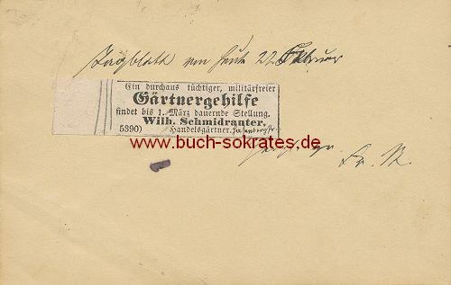 Postkarte Annonce Gärtnergehilfe gesucht Stuttgart, Hasenbergstr. (1888)