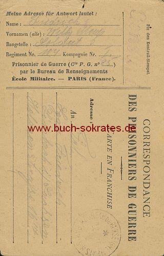 Postkarte Kriegsgefangenenpost Frankreich
