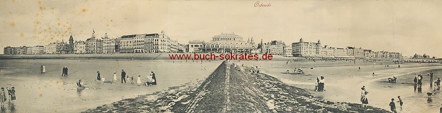 s/w-Foto-Postkarte Panoramafoto Ostende / Oostende (ca. 1910)
