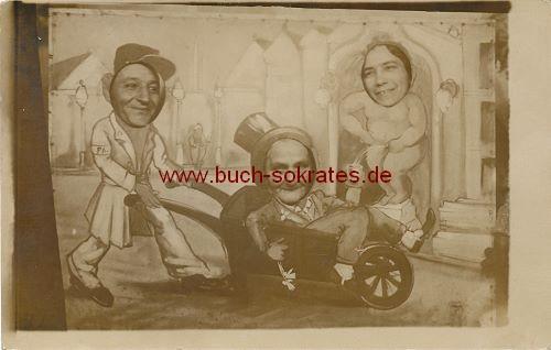Foto-Postkarte Juxbild Jahrmarkt aus Lüttich (ca. 1930)