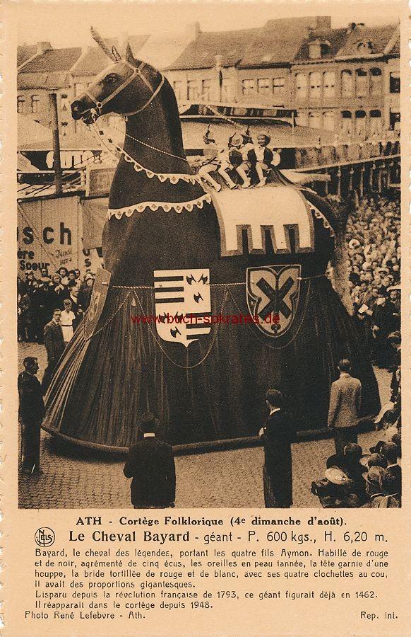 s/w-Foto-Postkarte Ducasse d Ath / Cortège Folklorique: Le Cheval Bayard, géant (ca. 1950)