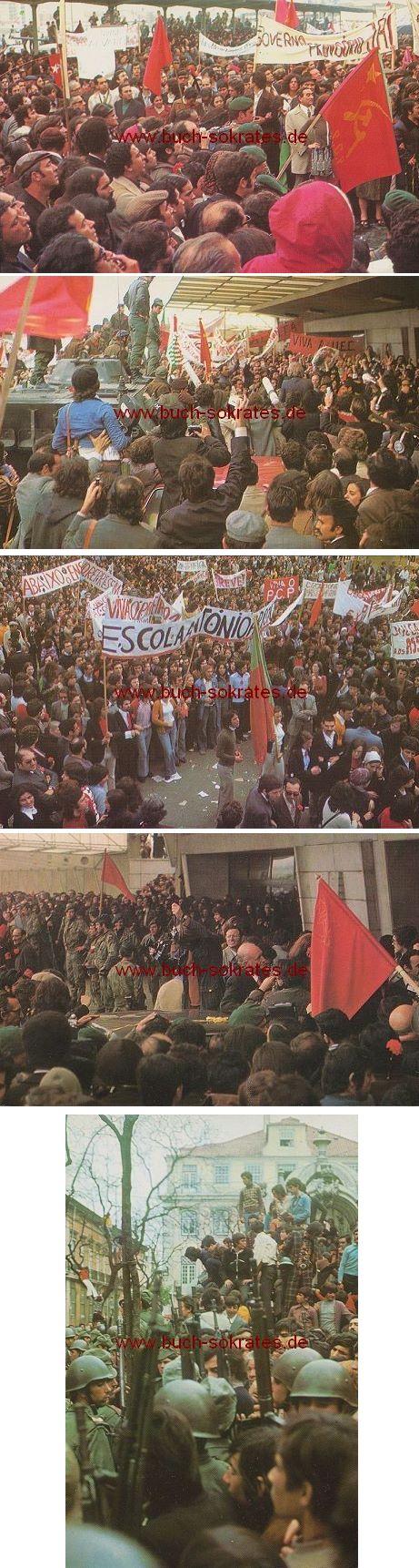 Postkarte 5 Fotos: Portugal libertado / Befreites Portugal - Nelkenrevolutio / Revolucao dos Cravos