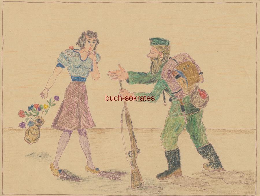 Soldatenzeichnung: Soldat in Uniform mit Rucksack und Gewehr mit einer Frau, diese mit Blumen (ca. 1942)