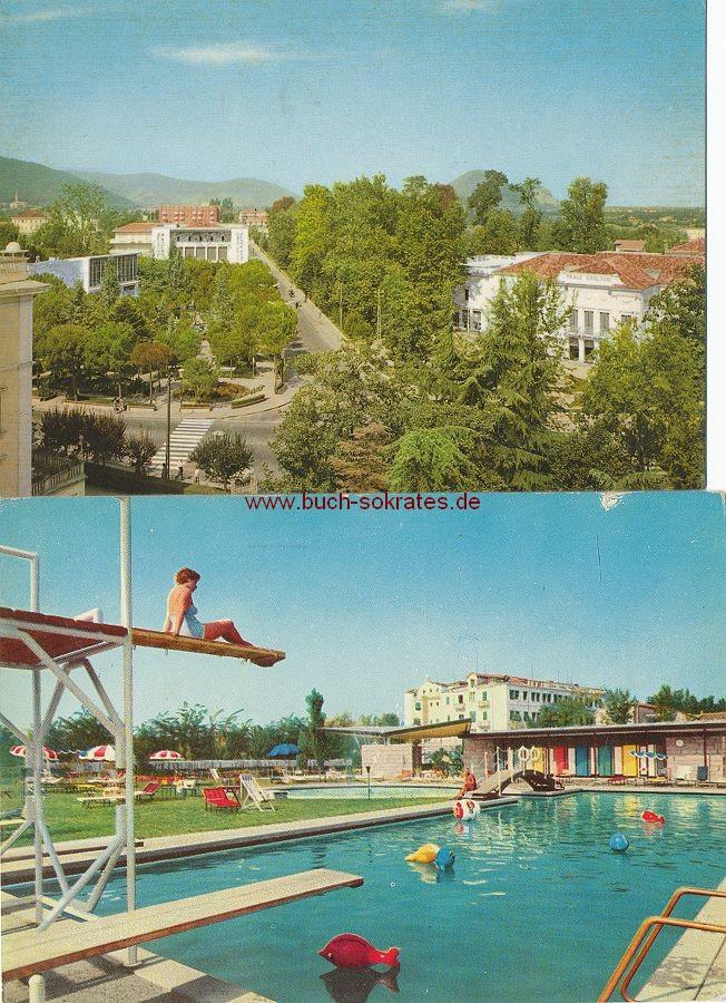 Ansichtskarte Abano Terme (Venetien / Italien): Panorama / Hotel Trieste & Victoria, Piscina e trampolino (Schwimmbad mit Sprungbrett) (1963-64)
