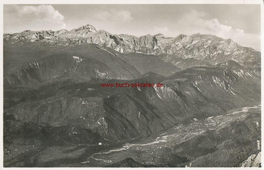 Ansichtskarte Blick vom Hochstuhl nach Jauerburg, Assling und Julischen Alpen, Triglau (Slowenien: Javornik, Triglov) (1942)
