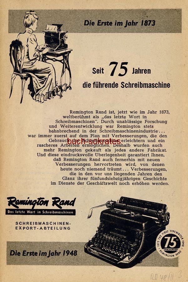 Werbe-Anzeige / Werbung/Reklame Remington Rand Schreibmaschinen (RD48/11)