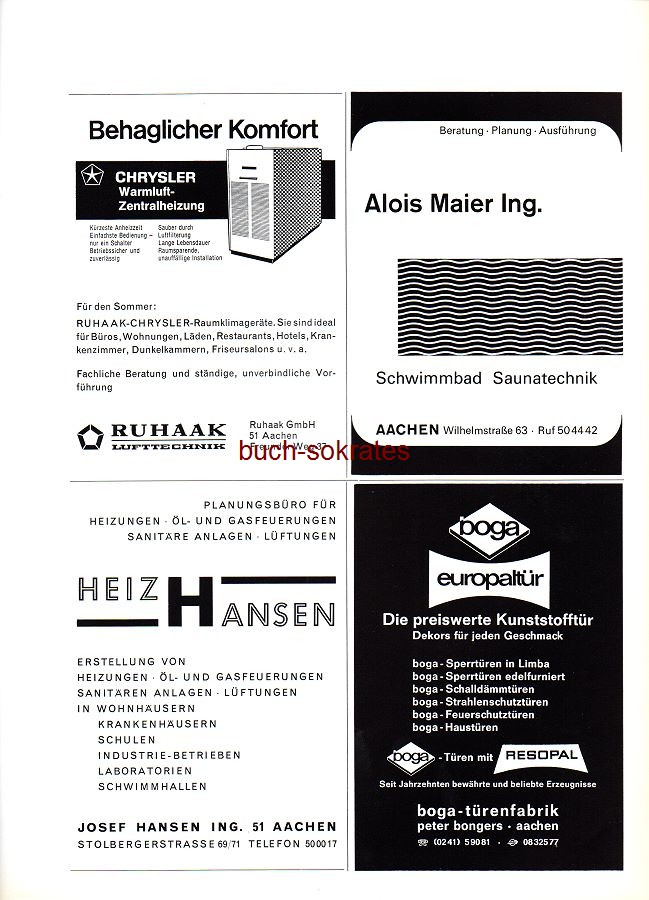 Werbe-Anzeige / Werbung/Reklame Lufttechnik Ruhaak GmbH, Aachen, Freunder Weg 37 - Schwimmbad Alois Maier, Aachen, Wilhelmstraße 63 - Heiz Hansen, Josef Hansen, Stolbergerstraße 69/71 - Boga-Türenfabrik, Peter Pongers, Aachen (SP70)