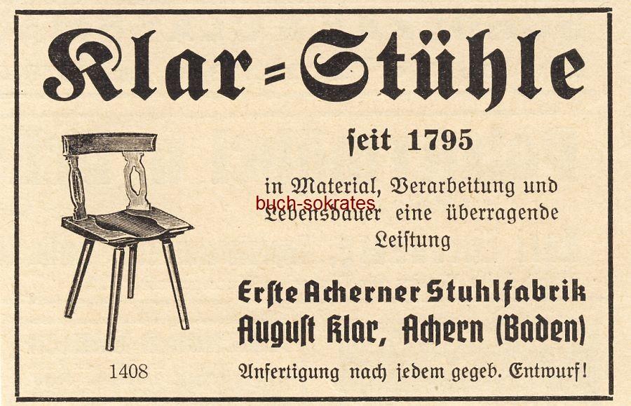 Werbe-Anzeige / Werbung/Reklame Klar-Stühle - August Klar, Achern (Baden) (BG36/4)