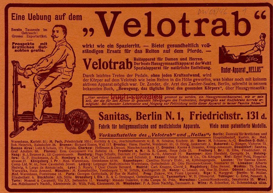 Werbe-Anzeige / Werbung/Reklame Velotrab - Sanitas, Berlin, Friedrichstr. 131d (DW08/46)
