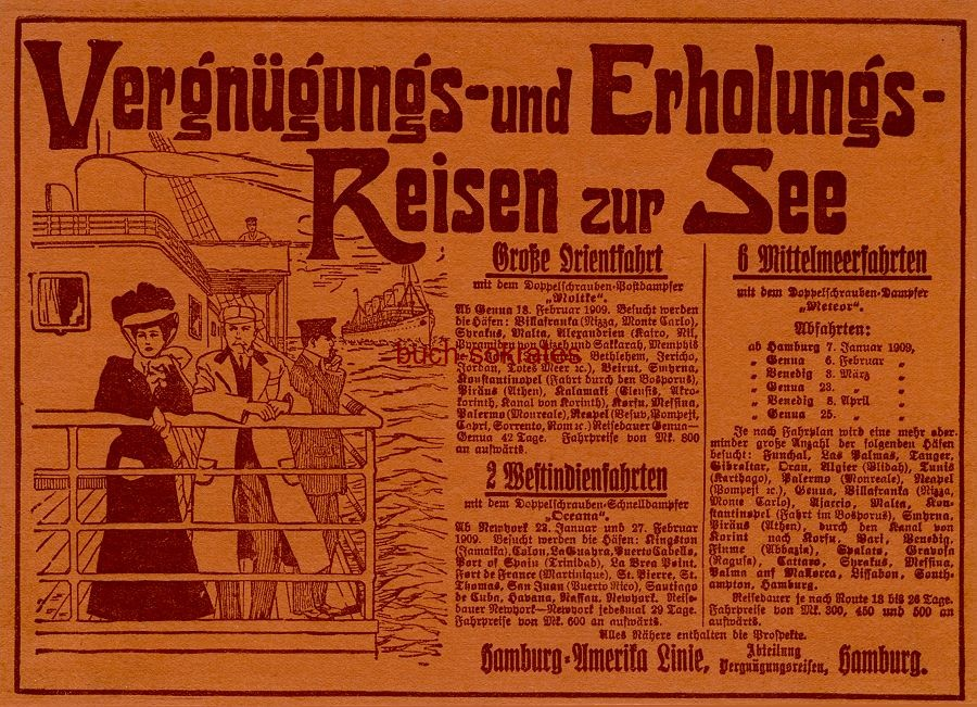 Werbe-Anzeige / Werbung/Reklame Hamburg-Amerika-Linie - Vergnügungs- und Erholungs-Reisen zur See - Hamburg-Amerika-Linie, Hamburg (DW08/46)