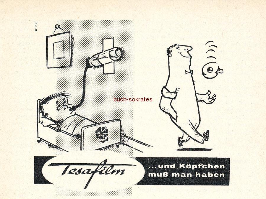 Werbe-Anzeige / Werbung/Reklame Konvolut Annoncen Tesafilm: Tesafilm - Zum Kleben, Flicken, Basteln (1953-61)