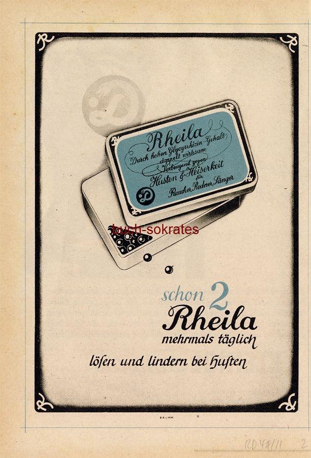 Werbe-Anzeige / Werbung/Reklame Rheila Hustenpastillen (RD48/11)