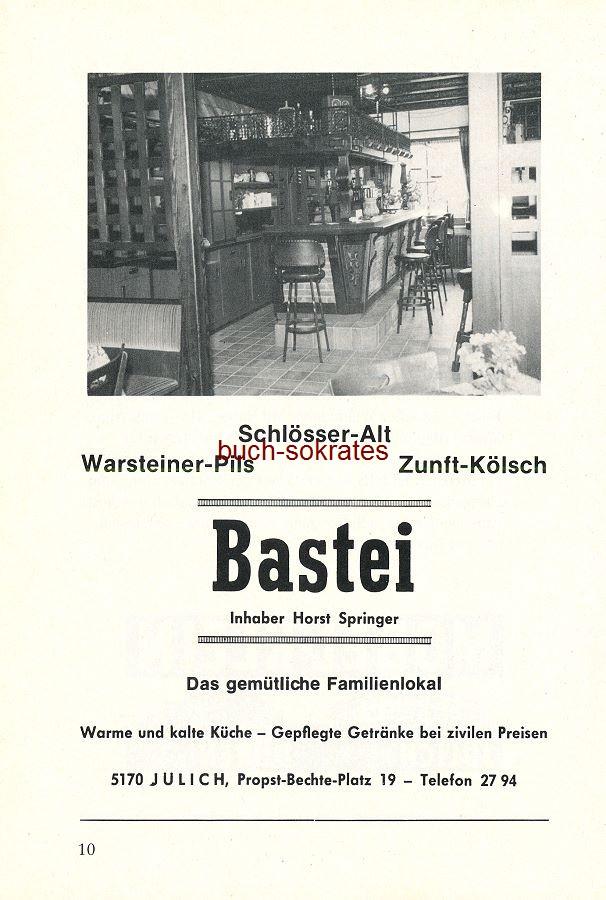 Werbe-Anzeige / Werbung/Reklame Das gemütliche Familienlokal - Bastei, Inhaber Horst Springer, Jülich, Propst-Bechte-Platz 19 (SP87)