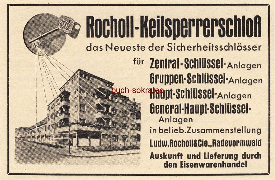 Werbe-Anzeige / Werbung/Reklame Rocholl Keilsperrerschloss - Sicherheitsschlösser - Ludw. Rocholl & Cie., Radevormwald (BG36/5)