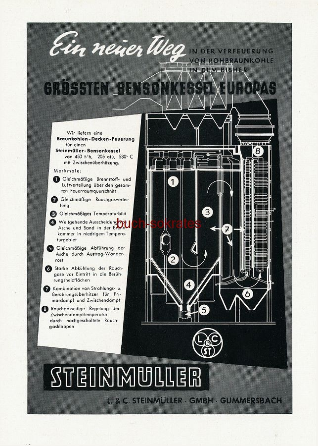Werbe-Anzeige / Werbung/Reklame Steinmüller-Bensonkessel - L. & C. Steinmüller GmbH, Gummersbach (SZ55)