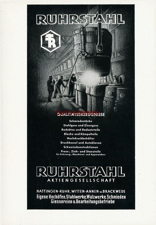 Werbe-Anzeige / Werbung/Reklame Ruhrstahl Qualitätserzeugnisse - Ruhrstahl AG, Hattingen-Ruhr, Witten-Annen u. Brackwede (SZ55)