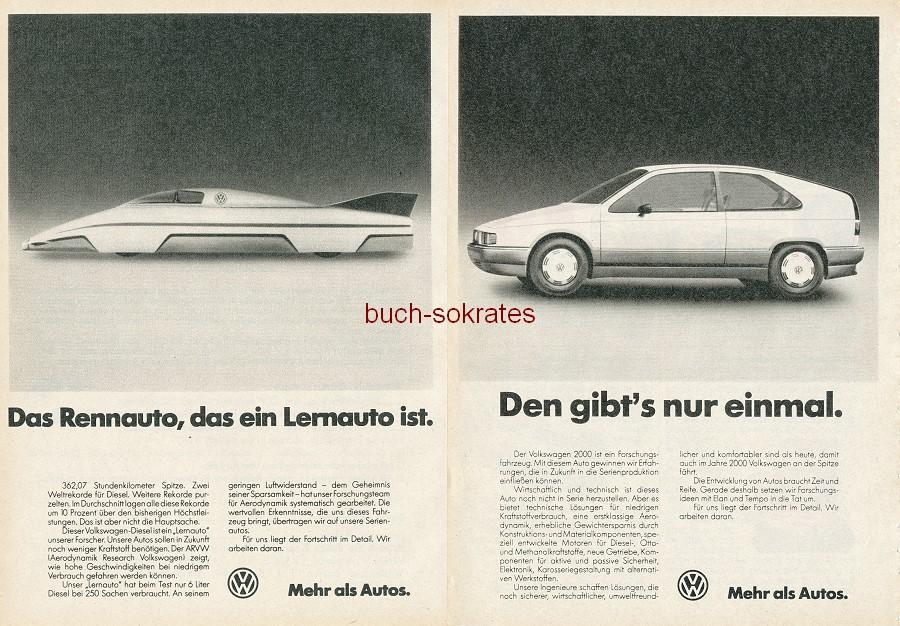 Werbe-Anzeige / Werbung/Reklame Konvolut Volkswagen VW - VW. Mehr als Autos - Volkswagen 2000, Prototypen (RD82/8/7)