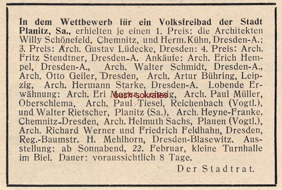 Werbe-Anzeige / Werbung/Reklame Wettbewerb Volksfreibad der Stadt Planitz Sa. - Stadtrat Planitz (heute Zwickau) (BG30/5)