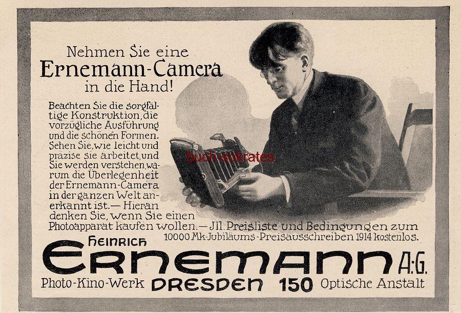 Werbe-Anzeige / Werbung/Reklame Ernemann-Camera (Kamera) - Heinrich Ernemann AG, Dresden, Photo-Kino-Werk, Optische Anstalt (DW13/39)