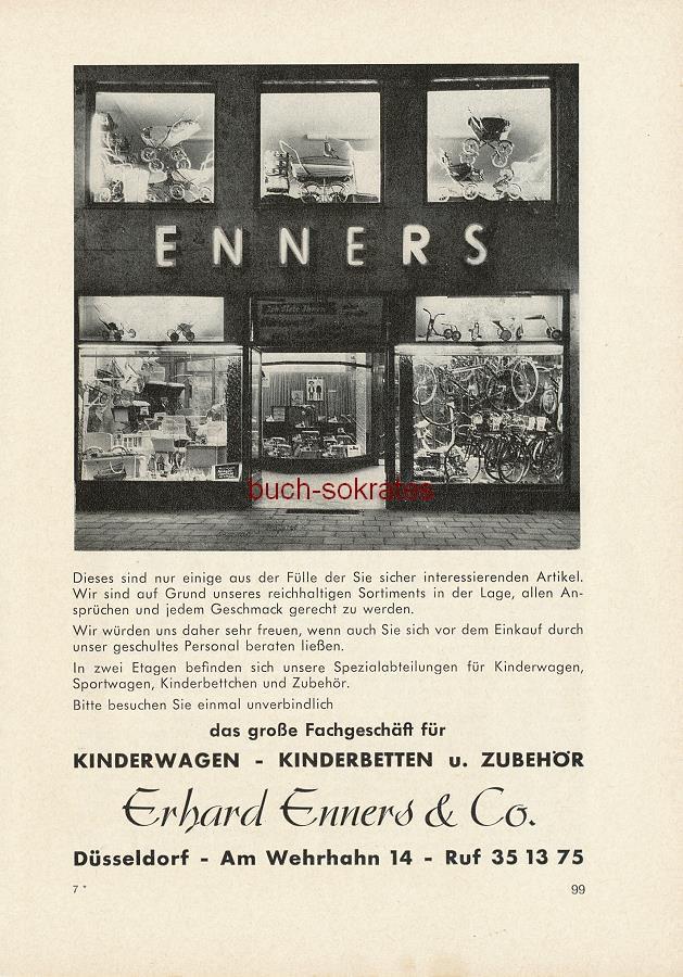 Werbe-Anzeige / Werbung/Reklame Erhard Enners & Co. - Das große Fachgeschäft für Kinderwagen, Kinderbetten u. Zubehör - Erhard Enners & Co., Düsseldorf, Am Wehrhahn 14 (SE64)