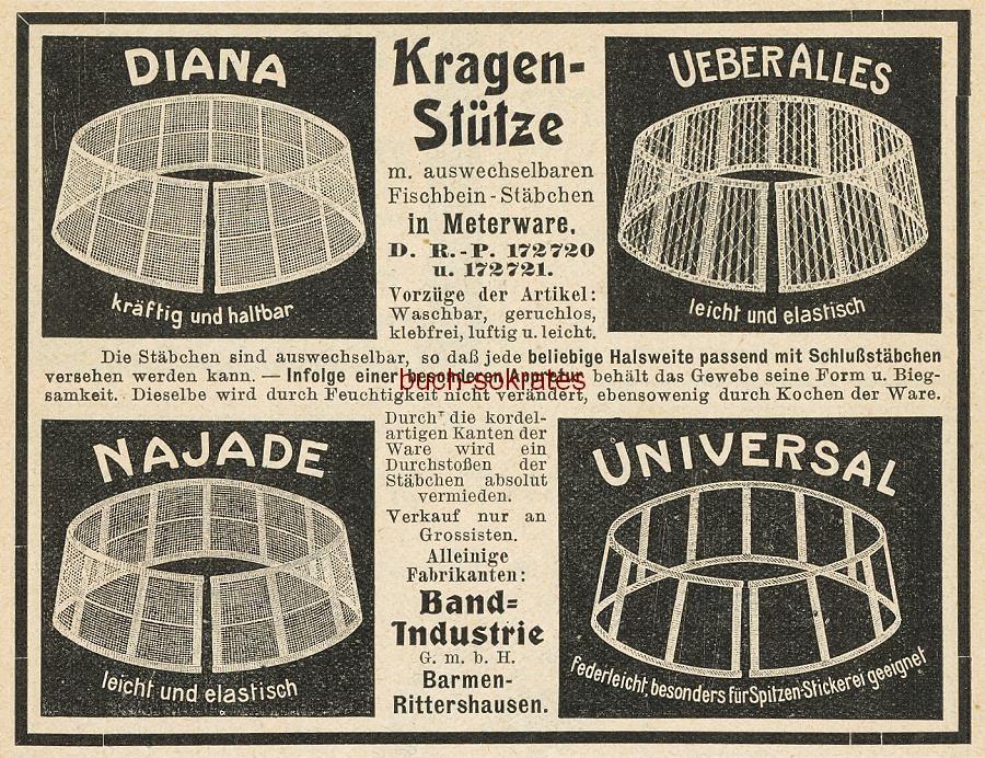 Werbe-Anzeige / Werbung/Reklame Kragen-Stütze / Kragenstütze Diana / Ueberalles / Najade / Universal - mit auswechselbaren Fischbein-Stäbchen - Band-Industrie GmbH, Barmen-Rittershausen (DK07)