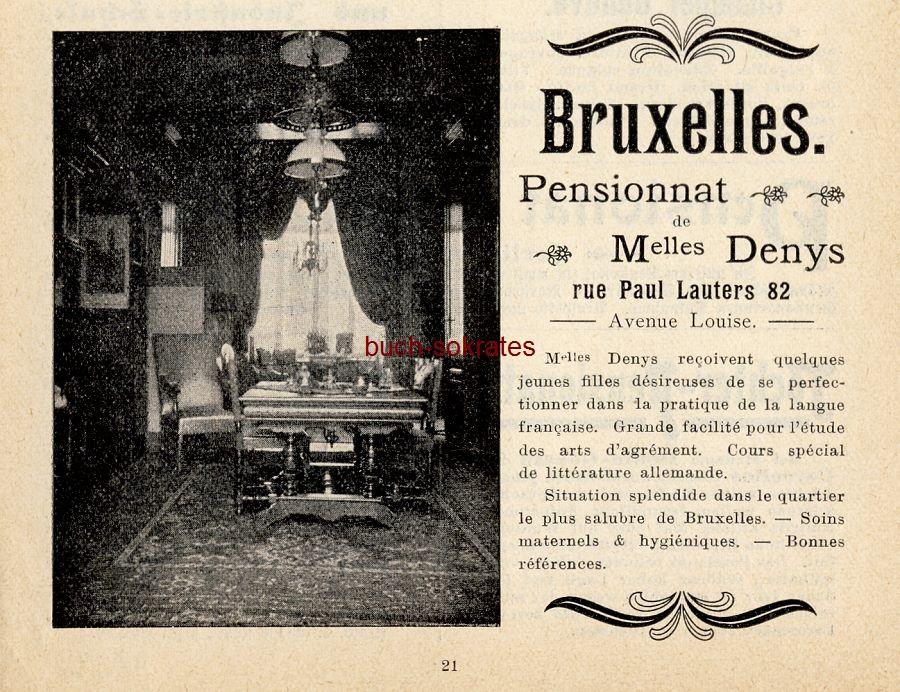 Werbe-Anzeige / Werbung/Reklame Pensionnat de Melles. Denys, Bruxelles, rue Paul Lauters 82 (DK03)
