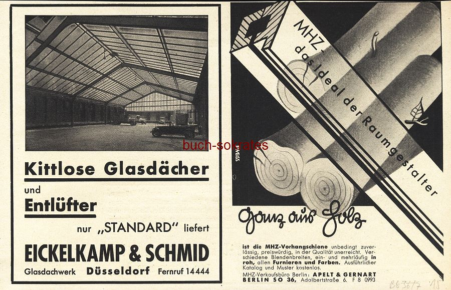 Werbe-Anzeige / Werbung/Reklame Eickelkamp & Schmid und MHZ aus Holz - Apelt & Gernart, Berlin (BG36/7)