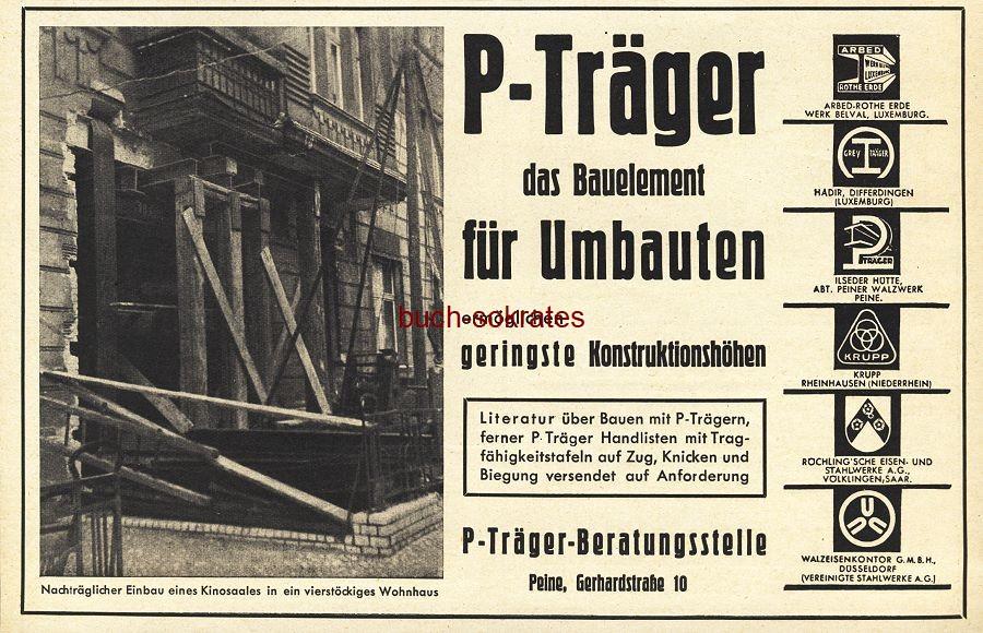 Werbe-Anzeige / Werbung/Reklame P-Träger, das Bauelement für Umbauten - P-Träger-Beratungsstelle, Peine (BG36/7)
