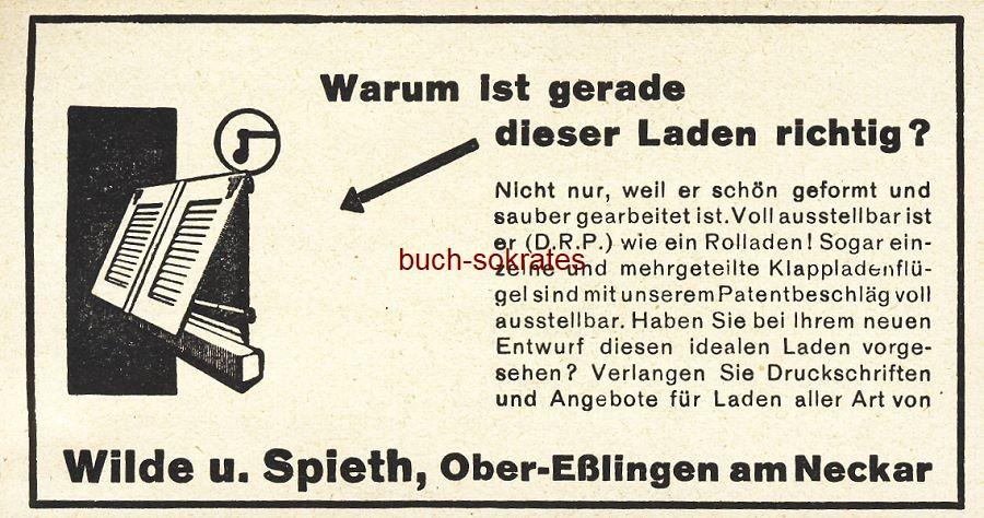 Werbe-Anzeige / Werbung/Reklame Klappladen - Wilde u. Spieth, Ober-Eßlingen am Neckar (BG36/7)