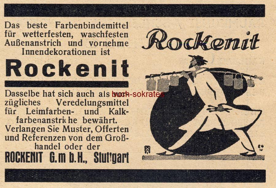 Werbe-Anzeige / Werbung/Reklame Rockenit Farbenbindemittel - Rockenit GmbH, Stuttgart (BG30/5)
