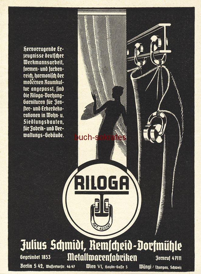 Werbe-Anzeige / Werbung/Reklame Riloga Vorhang-Garnituren - Julius Schmidt, Remscheid-Dorfmühle (BG36/7)