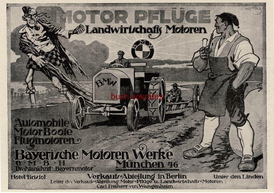 Werbe-Anzeige / Werbung/Reklame BMW Motor-Pflüge, Landwirtschaftsmotoren, Automobile, Motorboote, Flugmotoren - Bayerische Motoren Werke GmbH, München (JU18/12)
