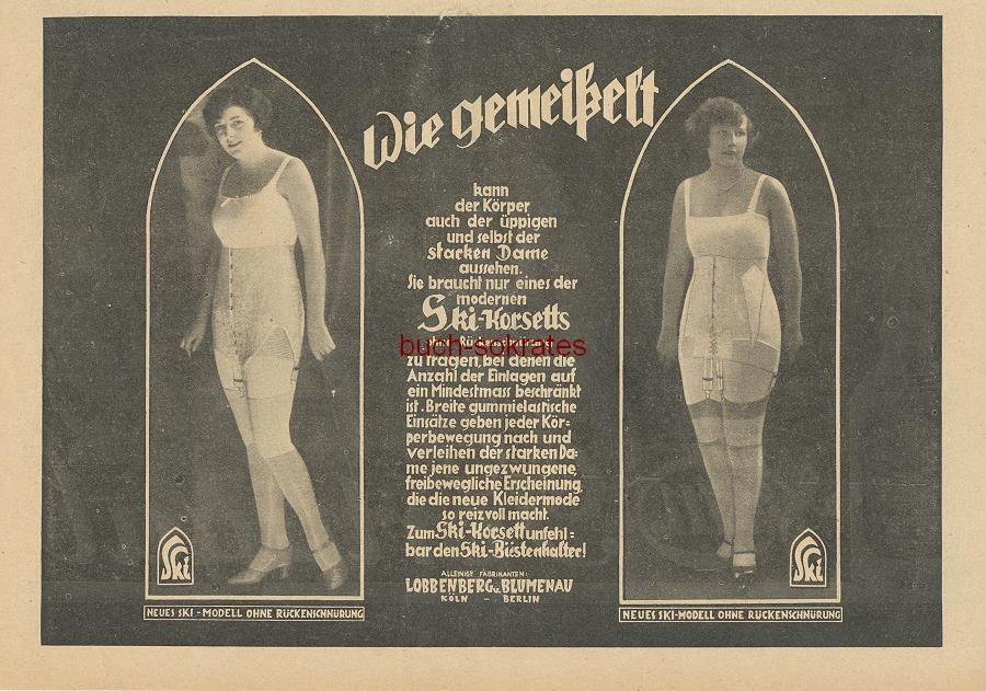 Werbe-Anzeige / Werbung/Reklame Ski-Korsetts ohne Rückenschnürung / Korsette - Wie gemeißelt - Lobbenberg u. Blumenau, Köln Berlin (BI26/15)