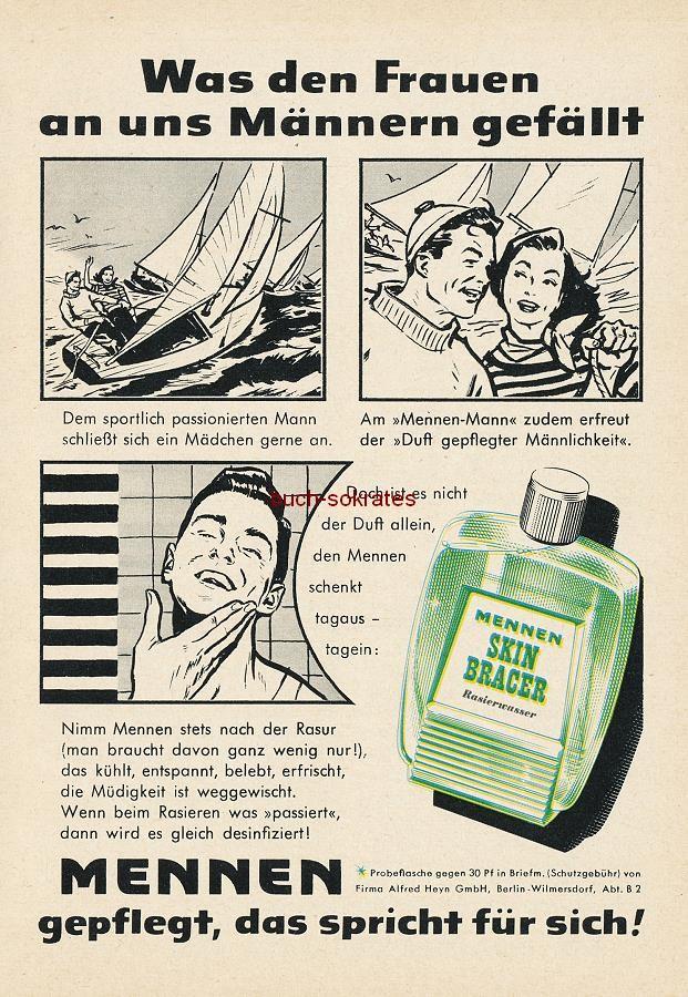 Werbe-Anzeige / Werbung/Reklame Mennen Rasierwasser - Mennen Skin Bracer Rasierwasser - Was den Frauen an uns Männern gefällt - Werbung im Comic-Stil (RD1056)