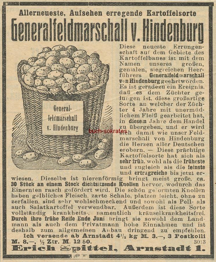 Werbe-Anzeige / Werbung/Reklame Kartoffelsorte Generalfeldmarschall v. Hindenburg