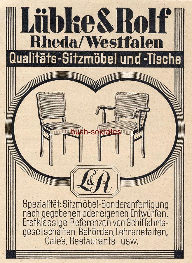 Werbe-Anzeige / Werbung/Reklame Qualitäts-Sitzmöbel und -Tische - Lübke & Rolf, Rheda / Westfalen (BG30/22)