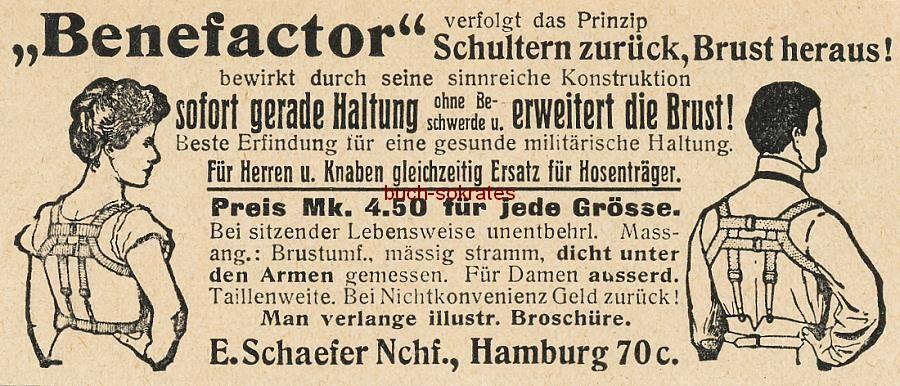 Werbe-Anzeige / Werbung/Reklame Benefactor - für eine gesunde militärische Haltung - E. Schaefer Nchf., Hamburg 70c (DW08DW11)