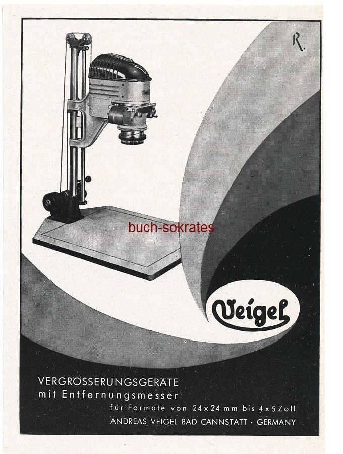 Werbe-Anzeige / Werbung/Reklame Veigel Vergrößerungsgeräte - Andreas Veigel, Bad Cannstatt (PM53/1)