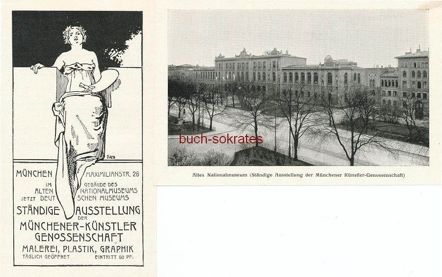 Werbe-Anzeige / Werbung/Reklame Ständige Ausstellung der Münchener Künstlergenossenschaft - Altes Nationalmuseum (Deutsches Museum), München, Maximilanstr. 26 (FM13)