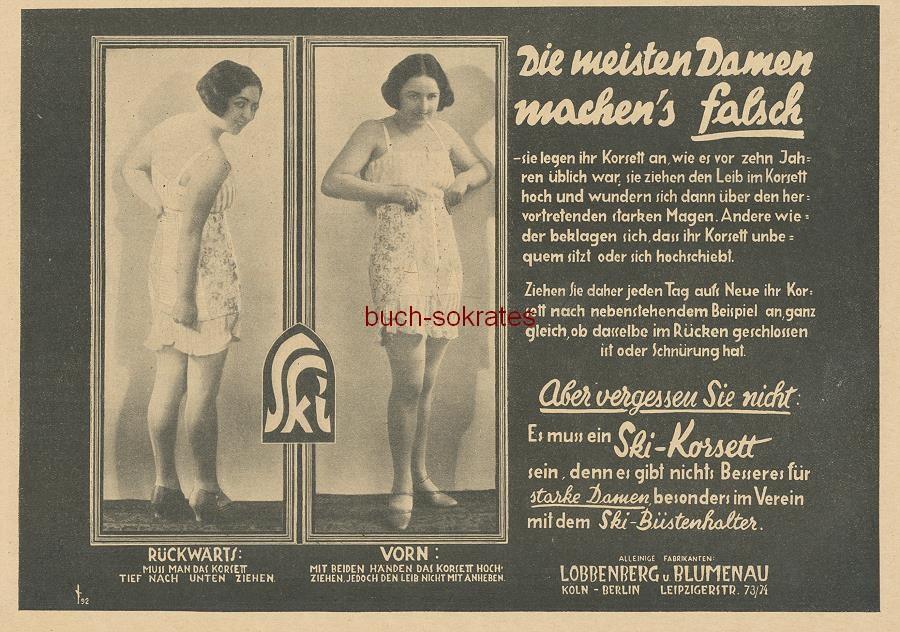 Werbe-Anzeige / Werbung/Reklame Ski-Korsett / Korsette - Die meisten Damen machen s falsch - sie legen ihr Korsett an, wie es vor zehn Jahren üblich war - Lobbenberg u. Blumenau, Köln Berlin (BI26/32)