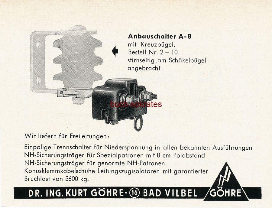 Werbe-Anzeige Göhre Anbauschalter - Dr. Ing. Kurt Göhre, Bad Vilbel (SZ55)