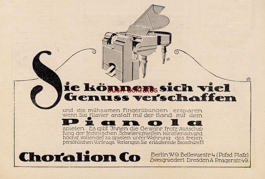 Werbe-Anzeige / Werbung/Reklame Pianola - Choralion Co., Berlin, Bellevuestr. 4 (DW13/39)
