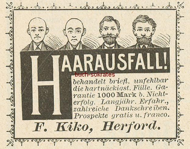 Werbe-Anzeige / Werbung/Reklame Haarausfall - F. Kiko, Herford (DK9495)
