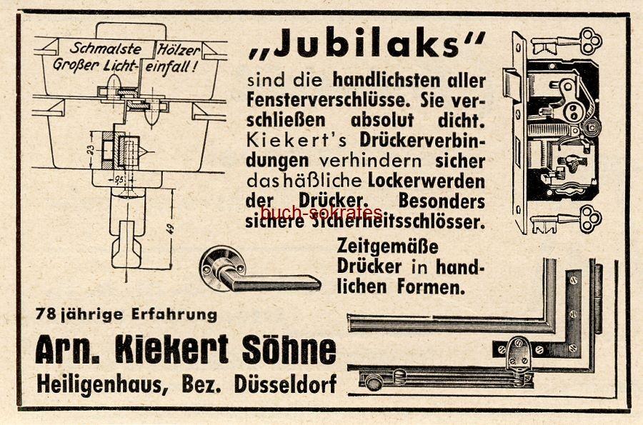 Werbe-Anzeige / Werbung/Reklame Jubilaks Fensterverschlüsse - Arn. Kiekert Söhne, Heiligenhaus (BG36/2)