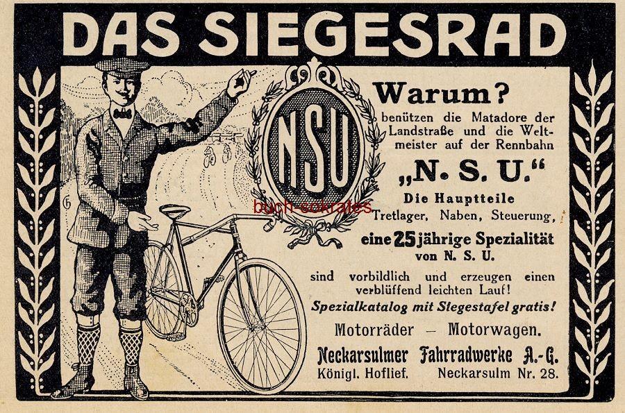Werbe-Anzeige / Werbung/Reklame NSU-Fahrrad - Neckarsulmer Fahrradwerke AG, Neckarsulm (DW11/14)