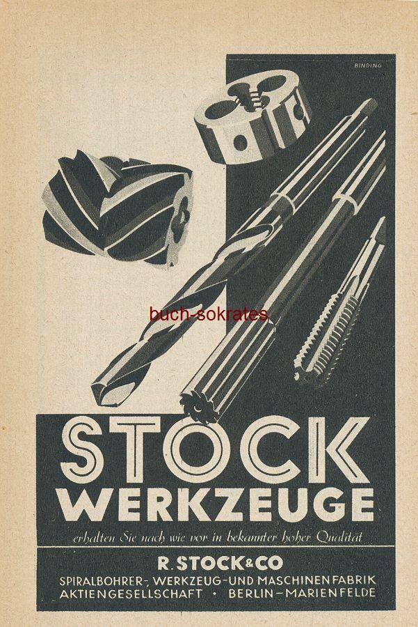Werbe-Anzeige / Werbung/Reklame Stock Werkzeuge - R. Stock & Co., Berlin-Marienfelde - Binding (Werbegraphik) (SP42)