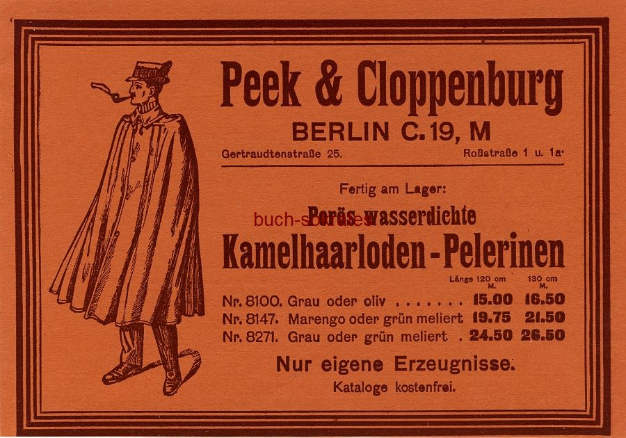 Werbe-Anzeige / Werbung/Reklame Peek & Cloppenburg Kamelhaarloden-Pelerinen - Peek & Cloppenburg, Berlin, Gertraudenstraße 25 (DW09/29)