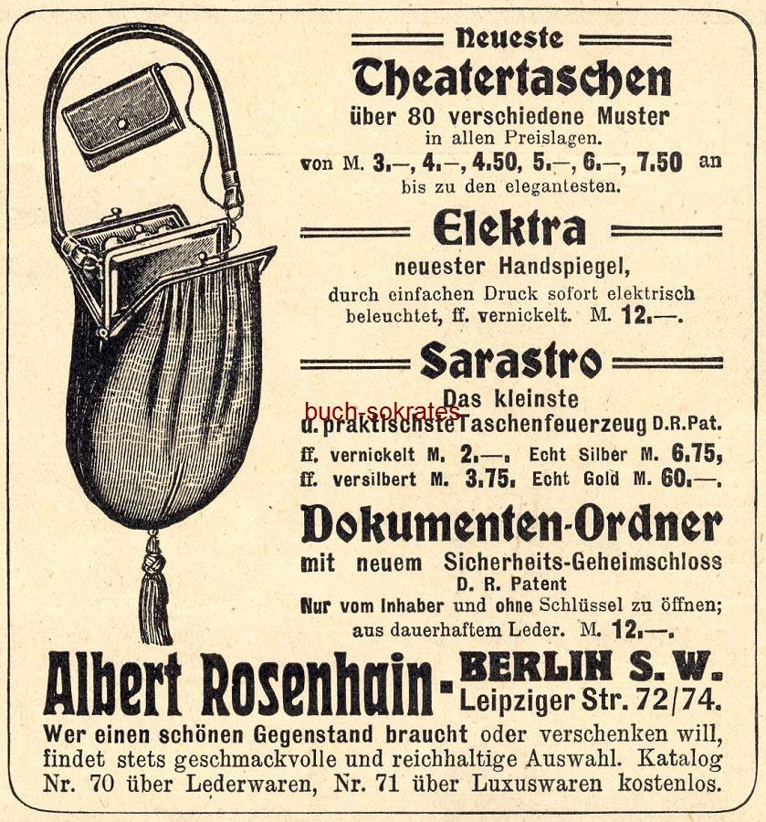Werbe-Anzeige / Werbung/Reklame Theatertaschen - Albert Rosenhain, Berlin, Leipziger Str. 72/74 (DW13/47)