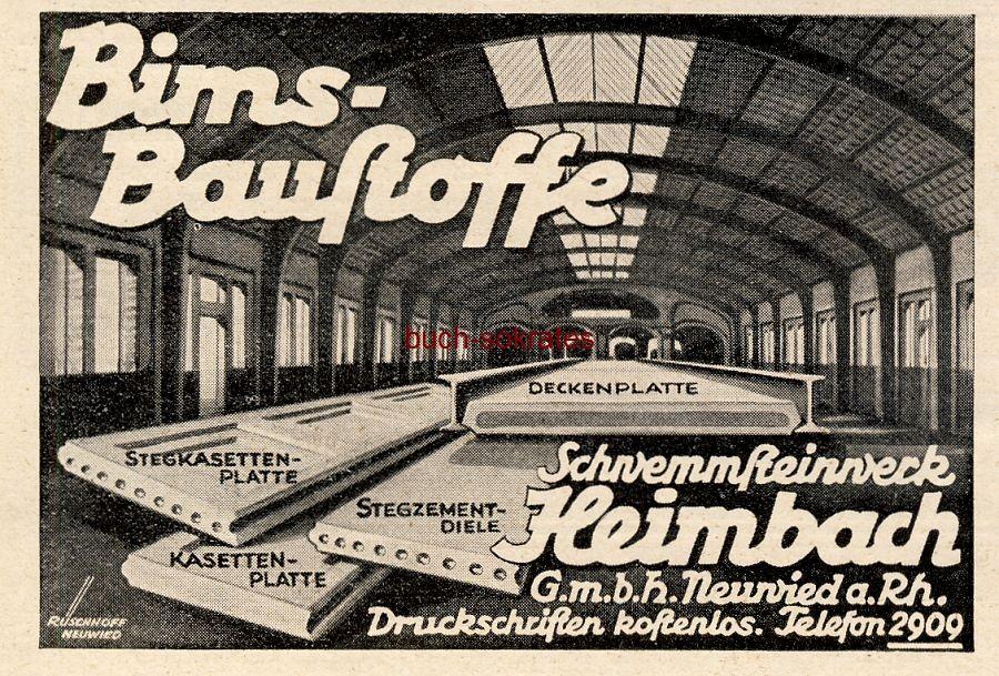 Werbe-Anzeige / Werbung/Reklame Bims-Baustoffe - Schwemmsteinwerk Heimbach GmbH, Neuwied a.Rh. (BG36/2)