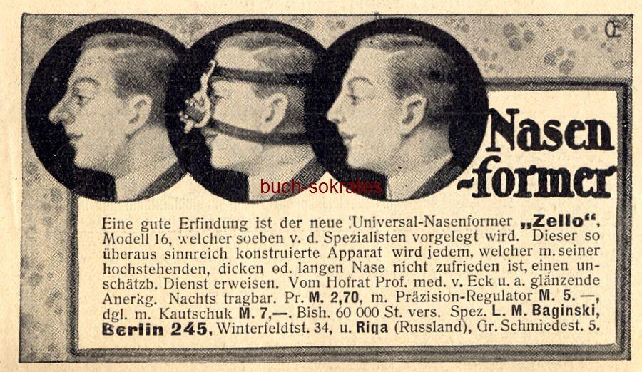 Werbe-Anzeige / Werbung/Reklame Zello Nasenformer - L.M. Baginski, Berlin (DW13/47)
